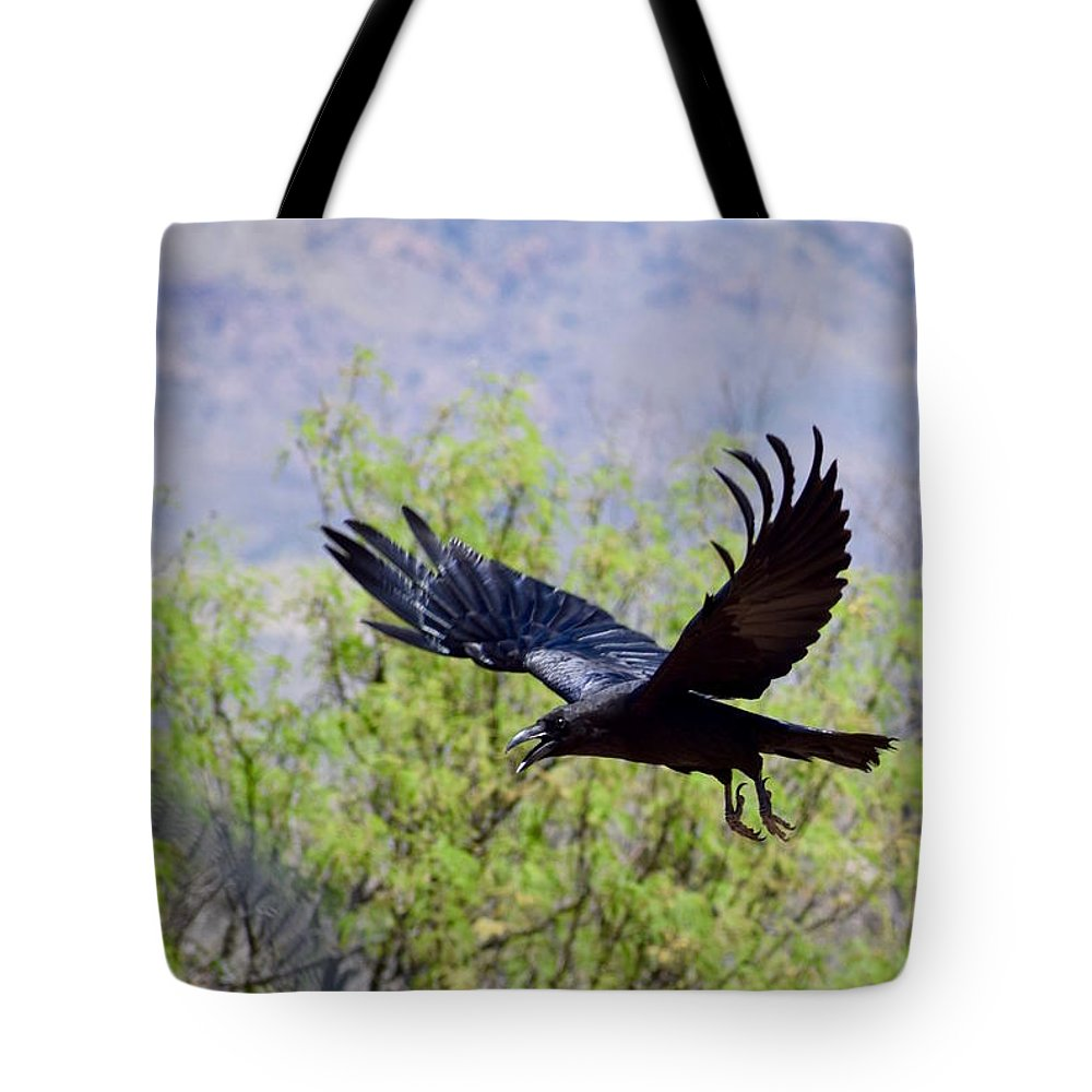 Resident Raven Tote Bag featuring the photograph Raven by Tammy Windsor-Brown