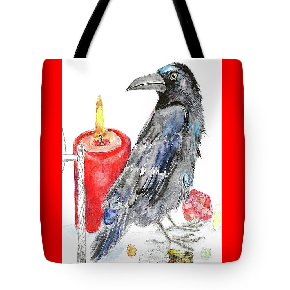 Raven Tote Bag featuring the painting Raven by Yana Sadykova