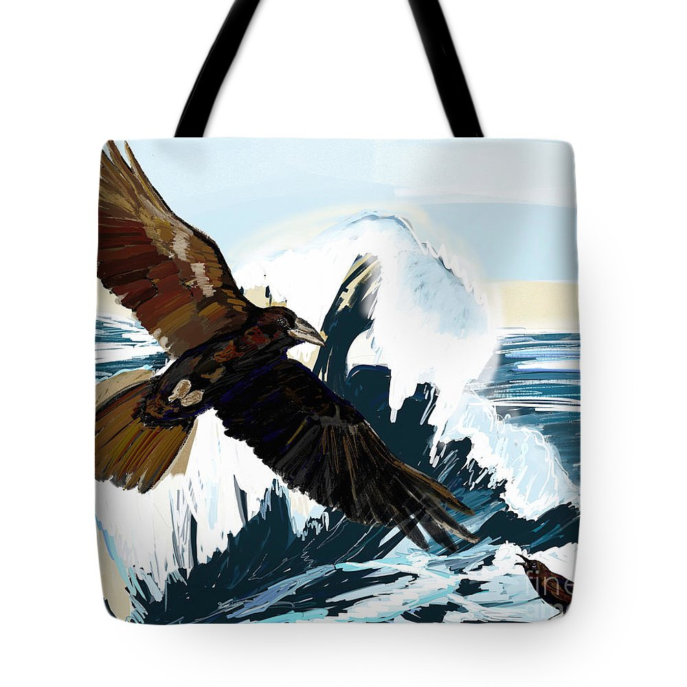 Ravens Tote Bag featuring the painting Ravens And The Stormy Sea by Lidija Ivanek - SiLa