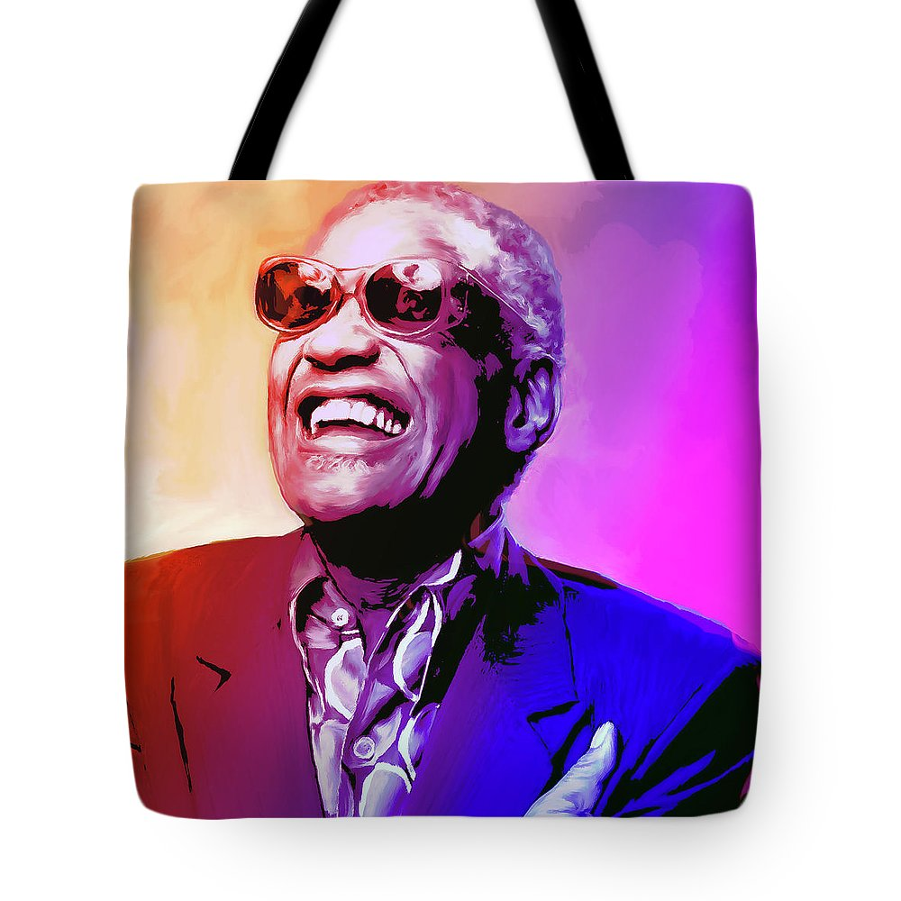 Ray Charles Tote Bag featuring the painting Ray Charles by Greg Joens