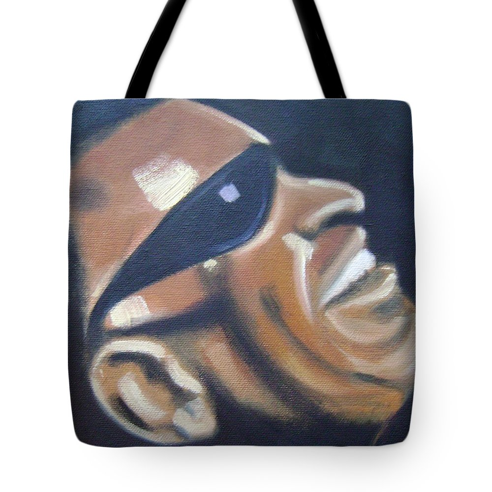 Ray Charles Tote Bag featuring the painting Ray Charles by Toni Berry