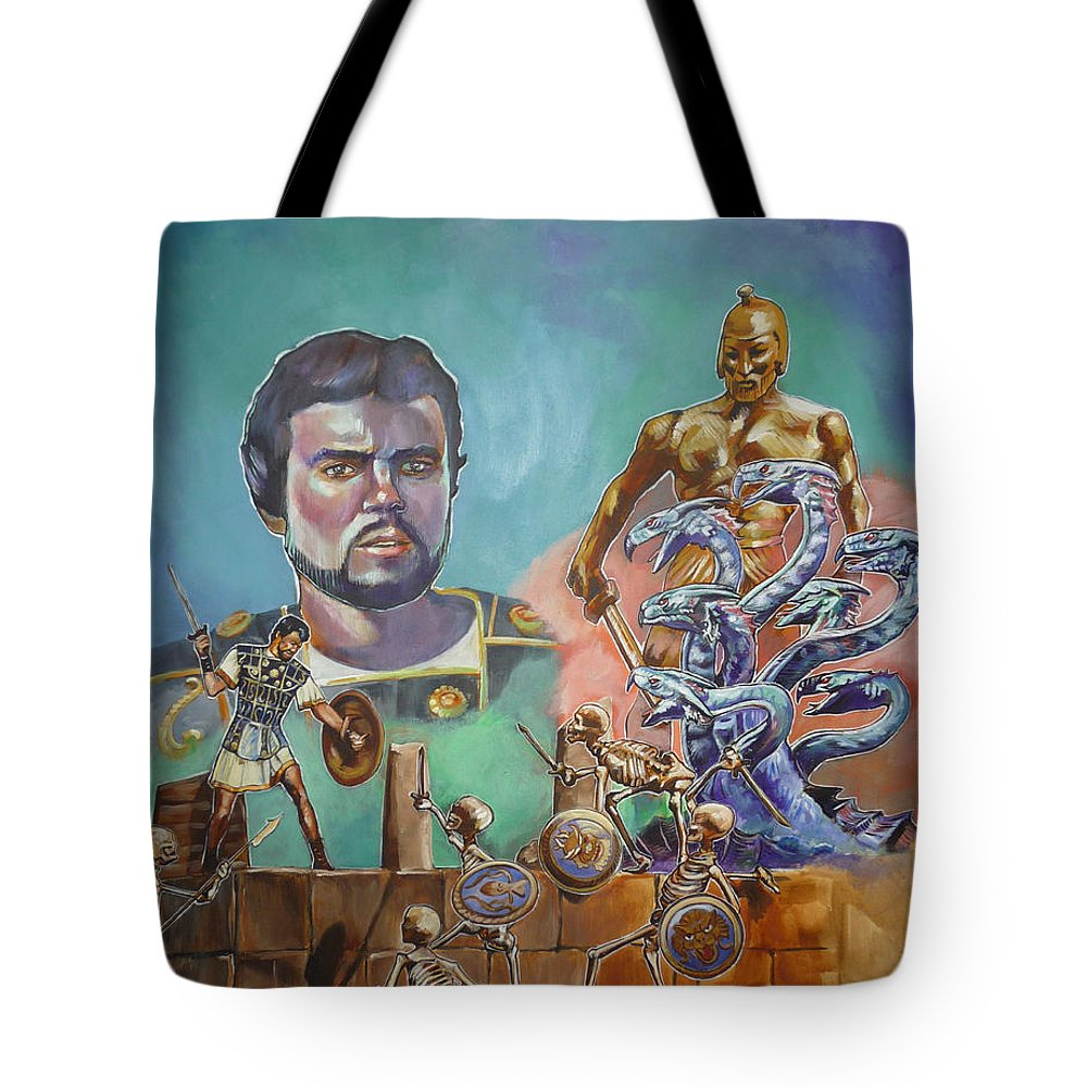 Jason Argonauts Hydra Talos Skeletons Movie Harryhausen Fantasy Sci-fi Tote Bag featuring the painting Ray Harryhausen Tribute Jason And The Argonauts by Bryan Bustard