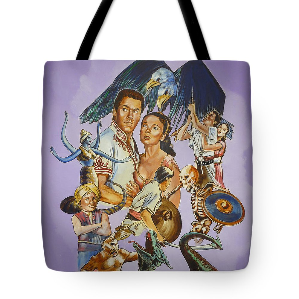 Movie Tote Bag featuring the painting Ray Harryhausen Tribute Seventh Voyage Of Sinbad by Bryan Bustard