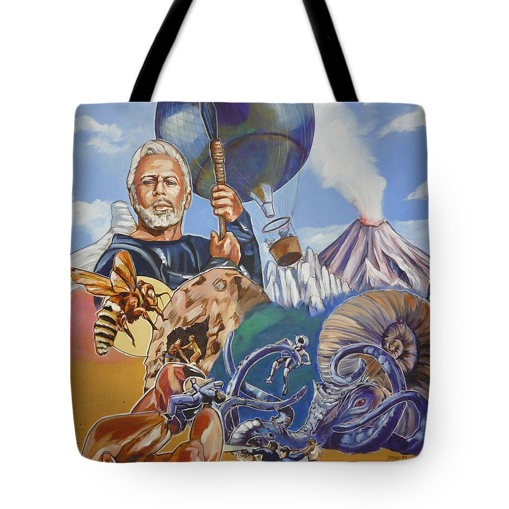 Mysterious Island Tote Bag featuring the painting Ray Harryhausen Tribute The Mysterious Island by Bryan Bustard