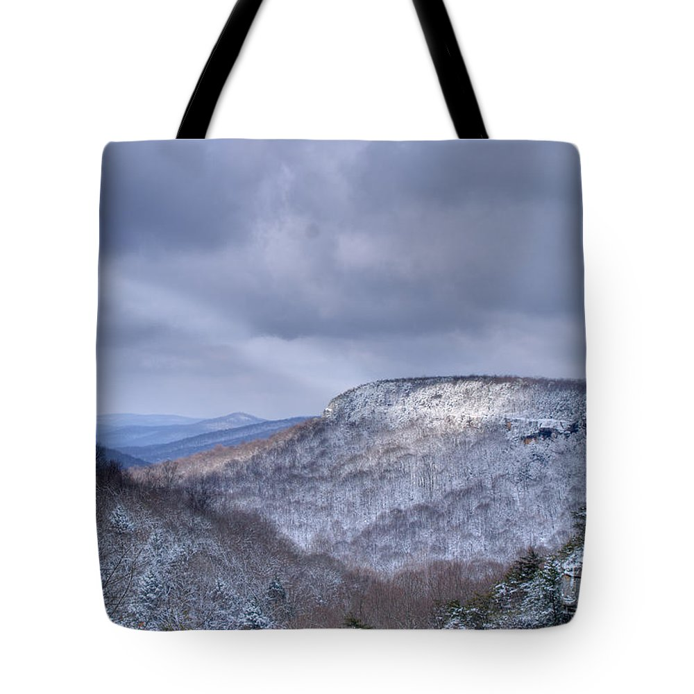 Ray Tote Bag featuring the photograph Ray Of Light On Mountain by Douglas Barnett