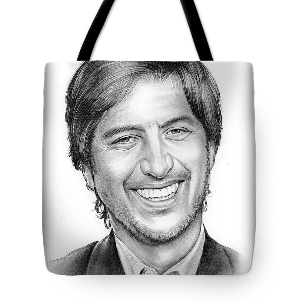 Rayromano Tote Bag featuring the drawing Ray Romano by Greg Joens