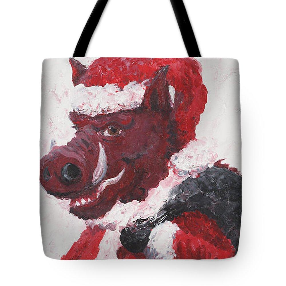 Santa Tote Bag featuring the painting Razorback Santa by Nadine Rippelmeyer