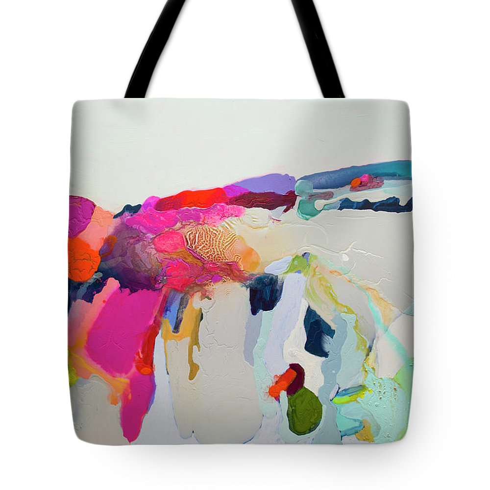 Abstract Tote Bag featuring the painting Reach In Reach Out by Claire Desjardins