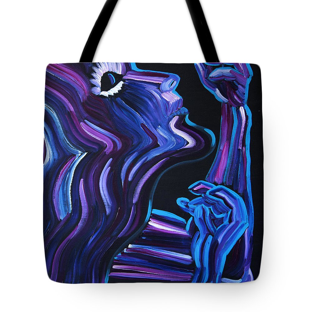 Figure Tote Bag featuring the painting Reach by JoAnn DePolo