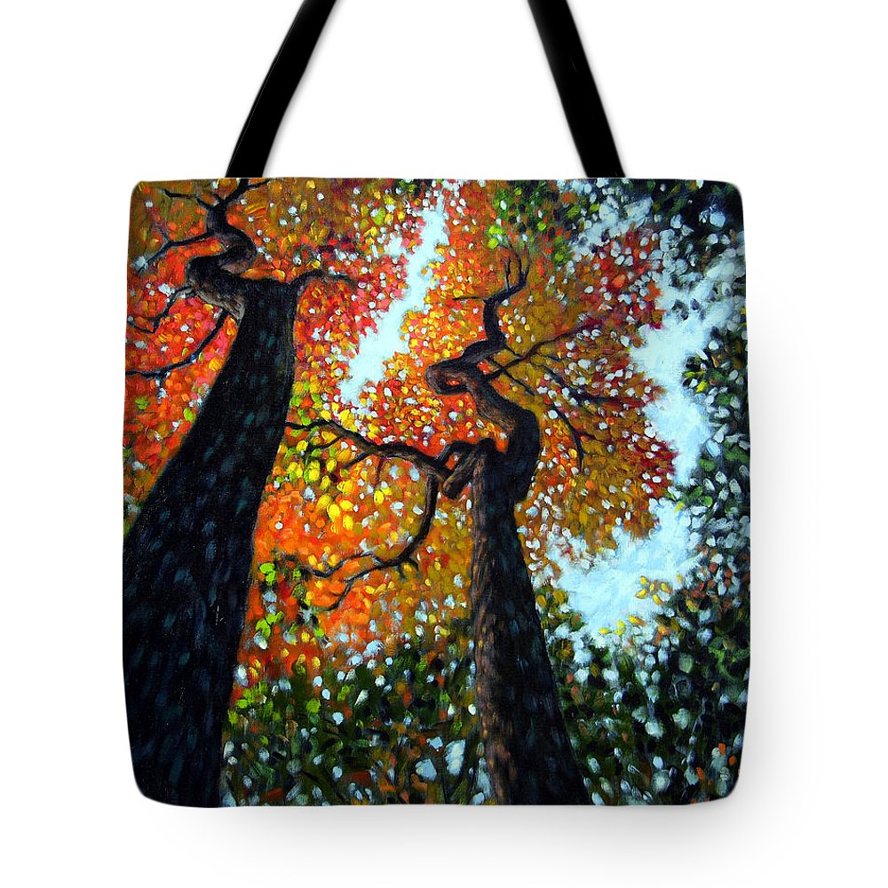 Fall Trees Tote Bag featuring the painting Reaching For The Light by John Lautermilch