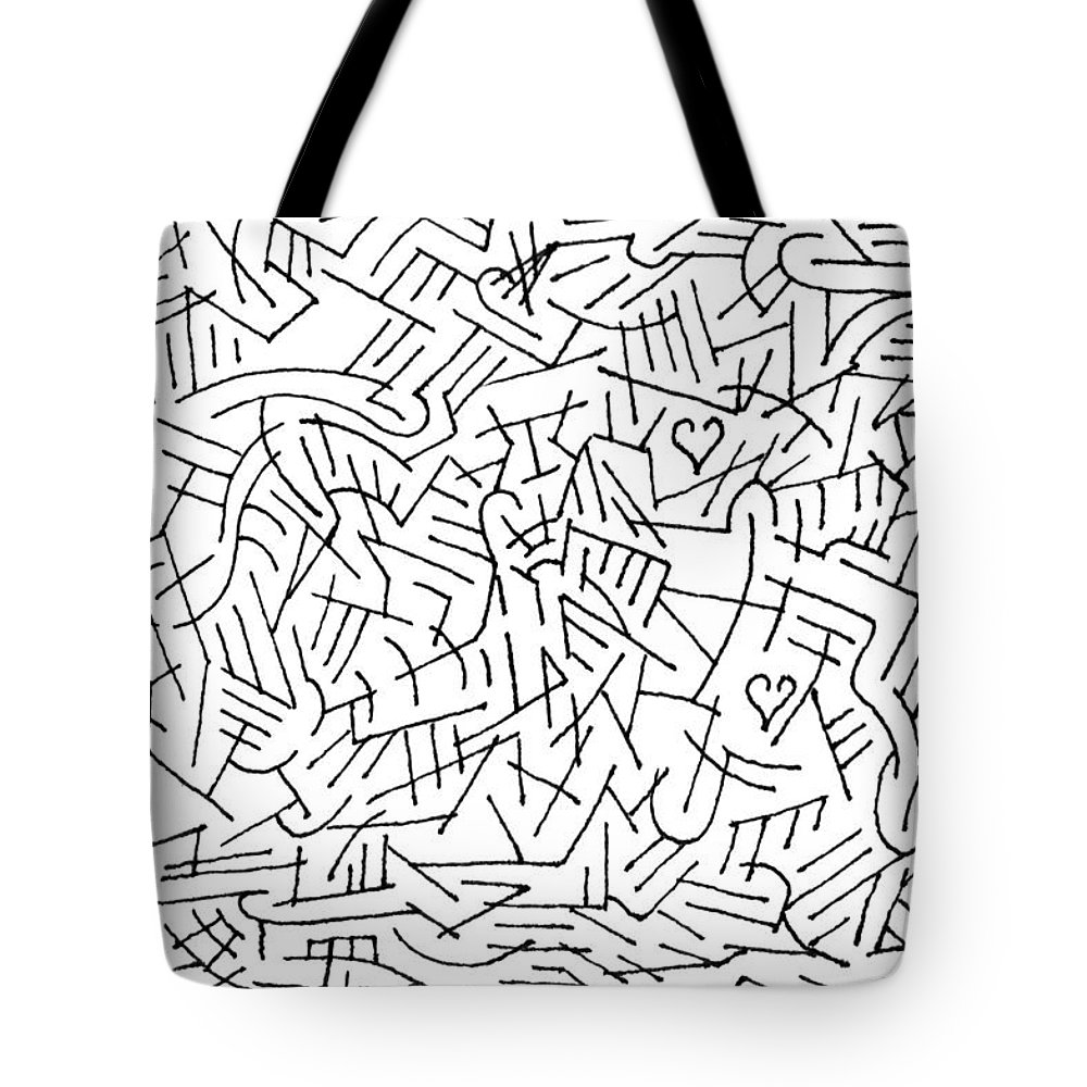 Mazes Tote Bag featuring the drawing Reaching Out by Steven Natanson