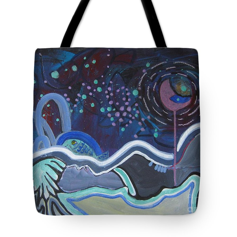 Abstract Paintings Tote Bag featuring the painting Read My Mind5 by Seon-Jeong Kim