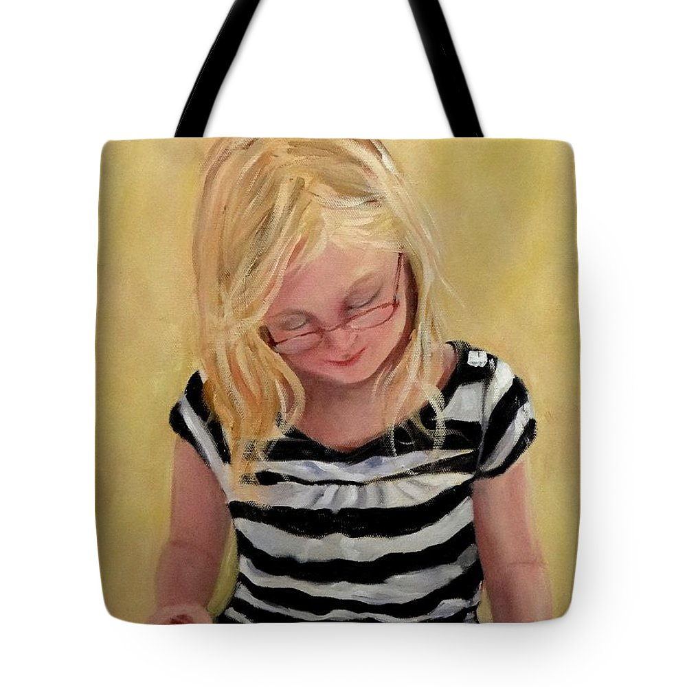 Young Girl Reading Tote Bag featuring the painting Reading Bee by Carol Berning