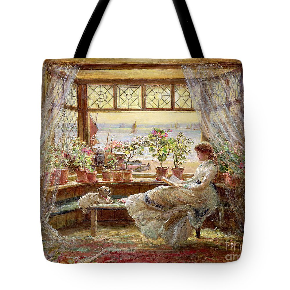 Dog Tote Bag featuring the painting Reading By The Window by Charles James Lewis