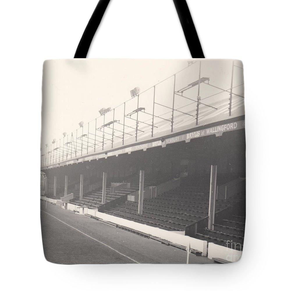 Tote Bag featuring the photograph Reading - Elm Park - Norfolk Road Stand 1 - Bw - 1968 by Legendary Football Grounds