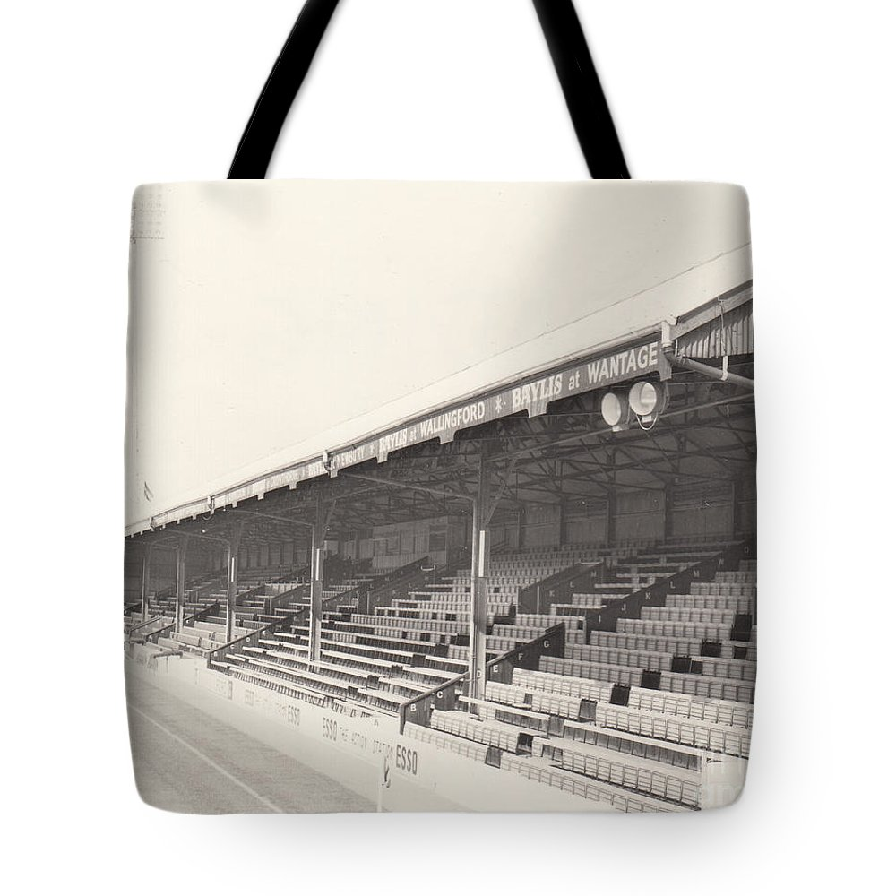 Tote Bag featuring the photograph Reading - Elm Park - Norfolk Road Stand 2 - Bw - 1970 by Legendary Football Grounds