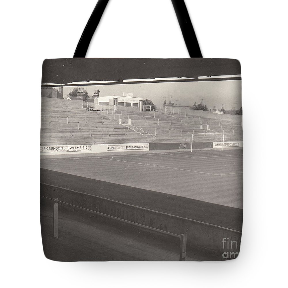 Tote Bag featuring the photograph Reading - Elm Park - Reading End 1 - Bw - 1968 by Legendary Football Grounds