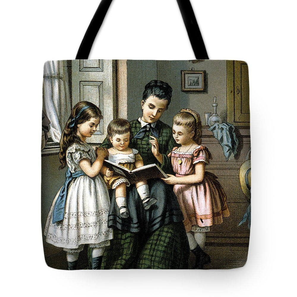 1870 Tote Bag featuring the photograph Reading To The Children by Granger
