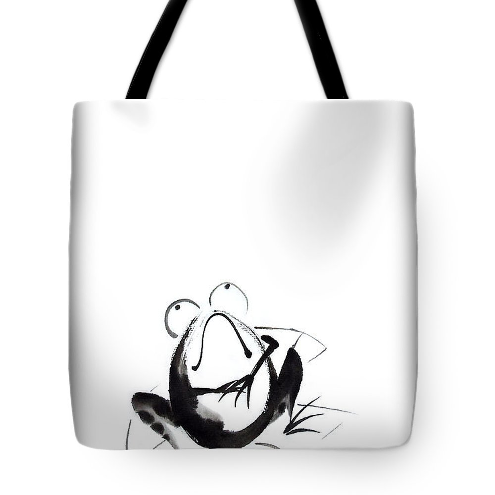Sumi-e Tote Bag featuring the painting Ready For The Moment by Oiyee At Oystudio