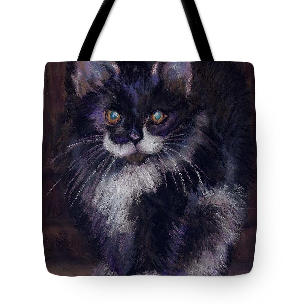 Kitten Tote Bag featuring the painting Ready For Trouble by Sharon E Allen