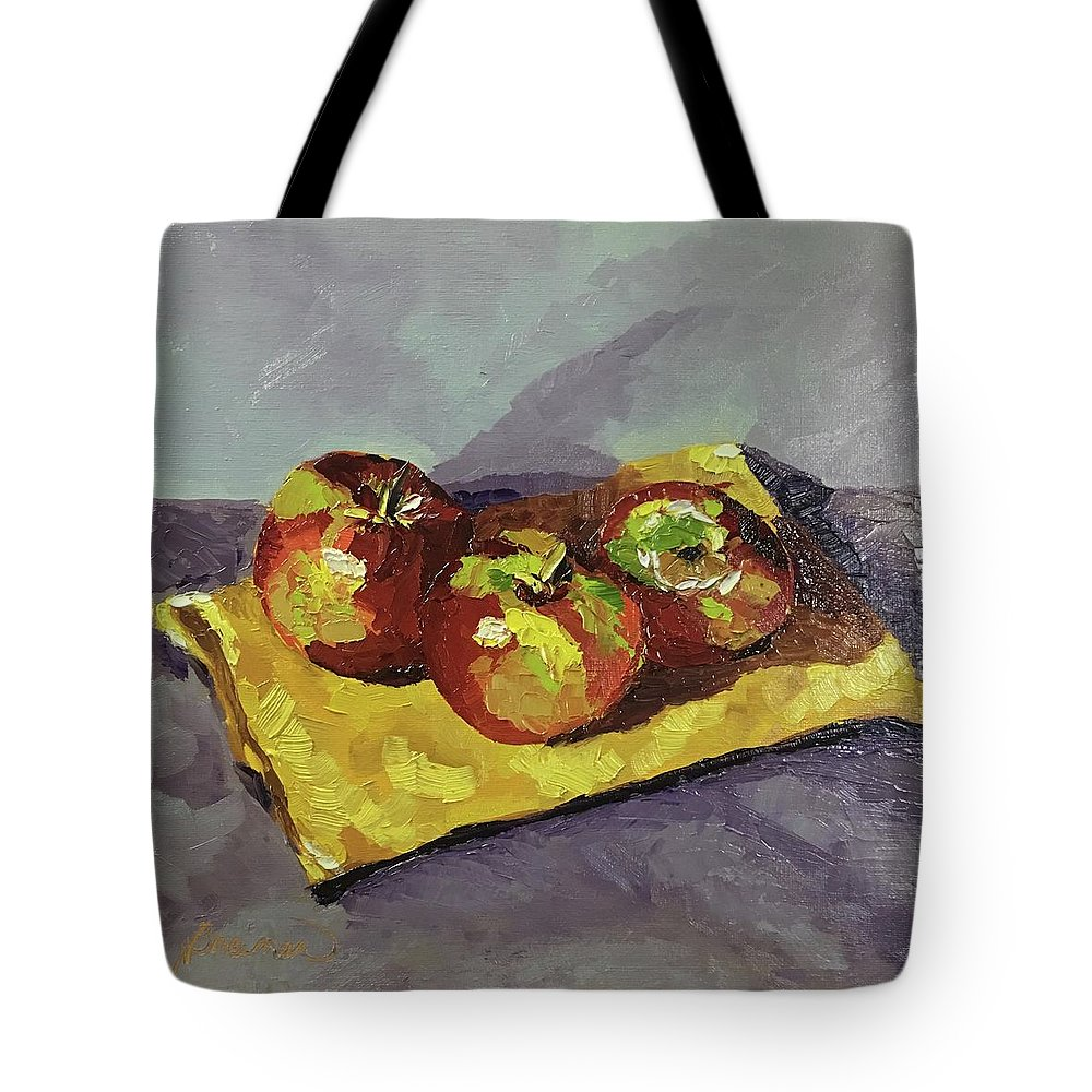 Apples Tote Bag featuring the painting Ready To Eat by Nancy Breiman