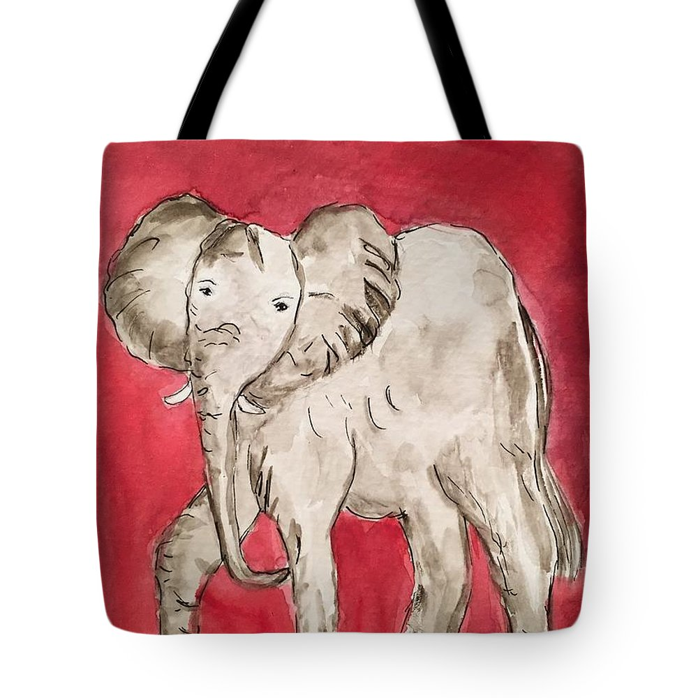 Elephant Tote Bag featuring the painting Ready To Roll by Glenda Grubbs