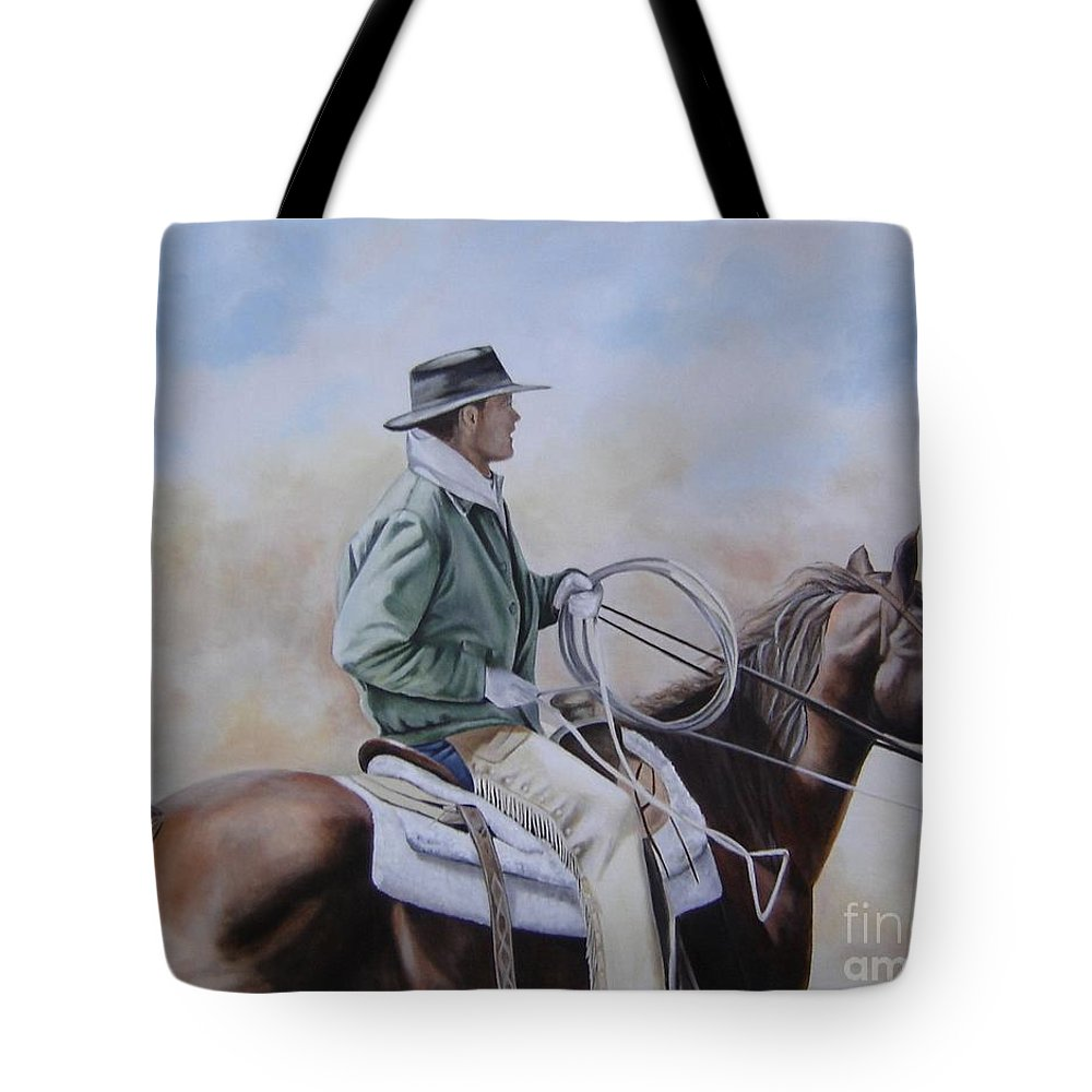 Ranch Tote Bag featuring the painting Ready To Rope by Mary Rogers