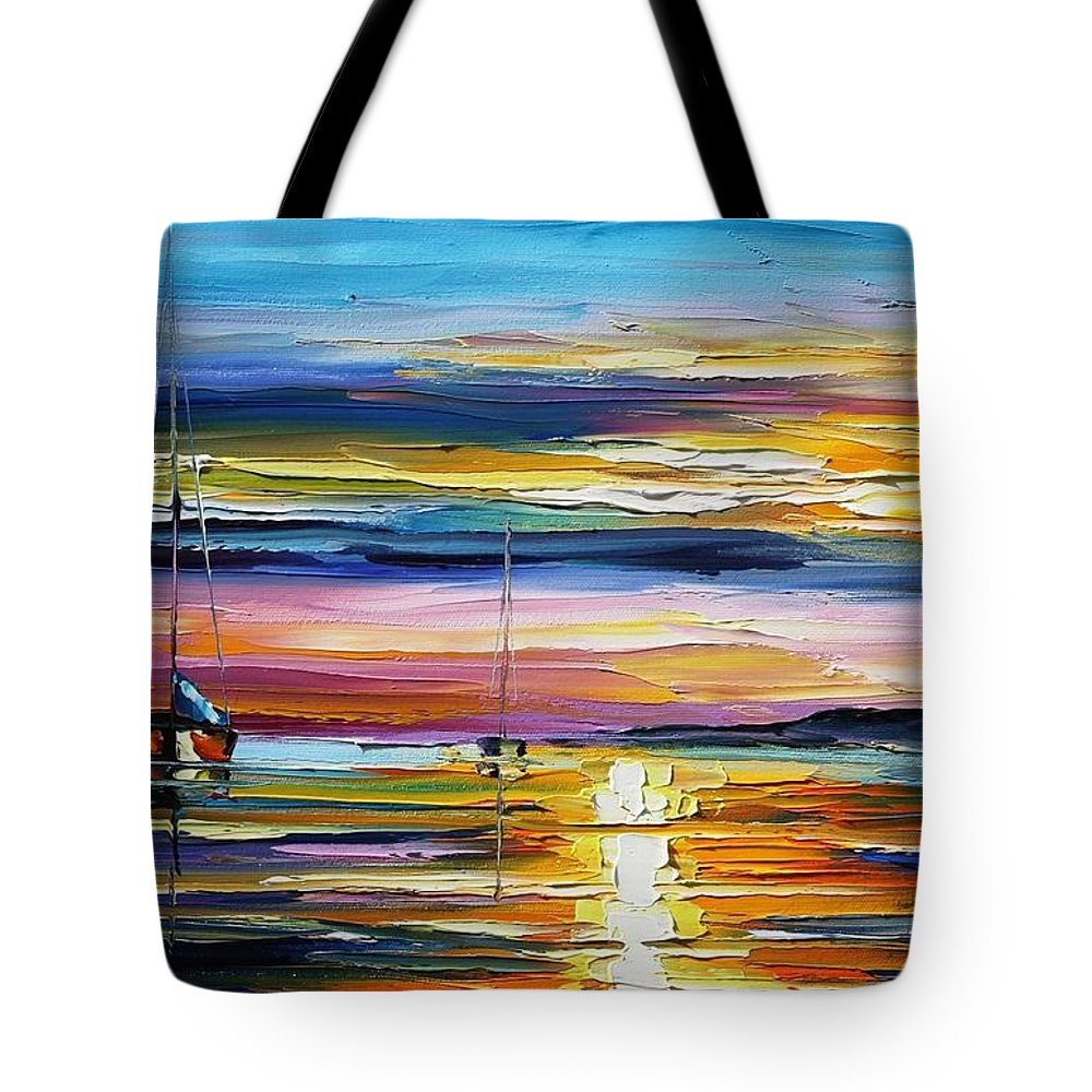 Afremov Tote Bag featuring the painting Real Sunset by Leonid Afremov
