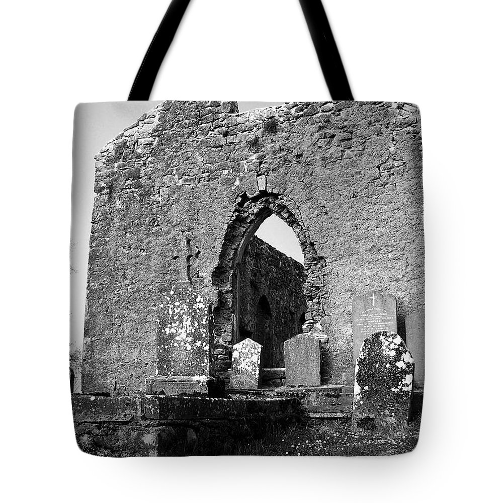 Ireland Tote Bag featuring the photograph Rear Entrance Fuerty Church Roscommon Ireland by Teresa Mucha