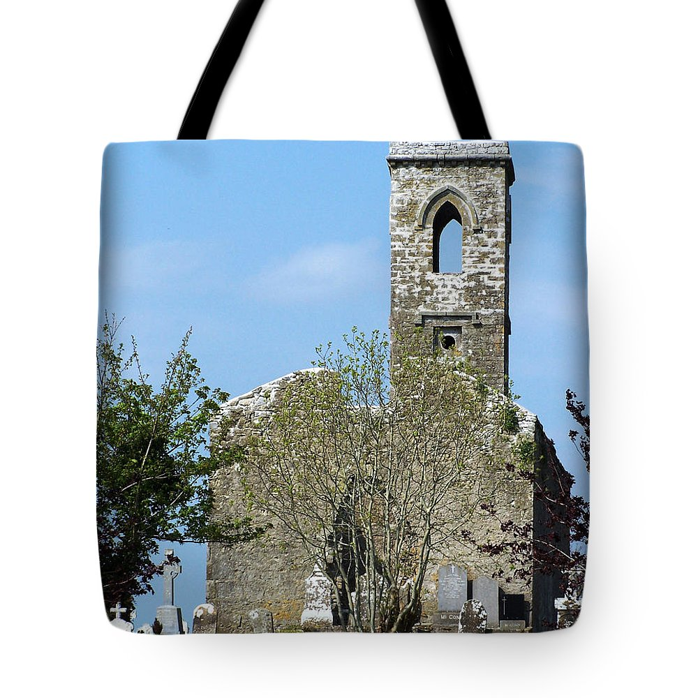 Fuerty Tote Bag featuring the photograph Rear View Fuerty Church And Cemetery Roscommon Ireland by Teresa Mucha