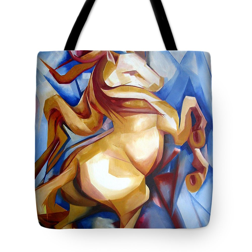 Horse Tote Bag featuring the painting Rearing Horse by Leyla Munteanu
