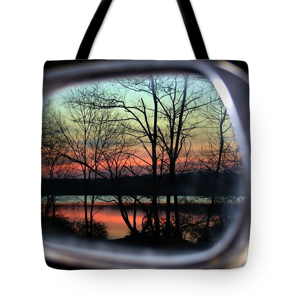 Rearview Mirror Tote Bag featuring the photograph Rearview Mirror by Mitch Cat