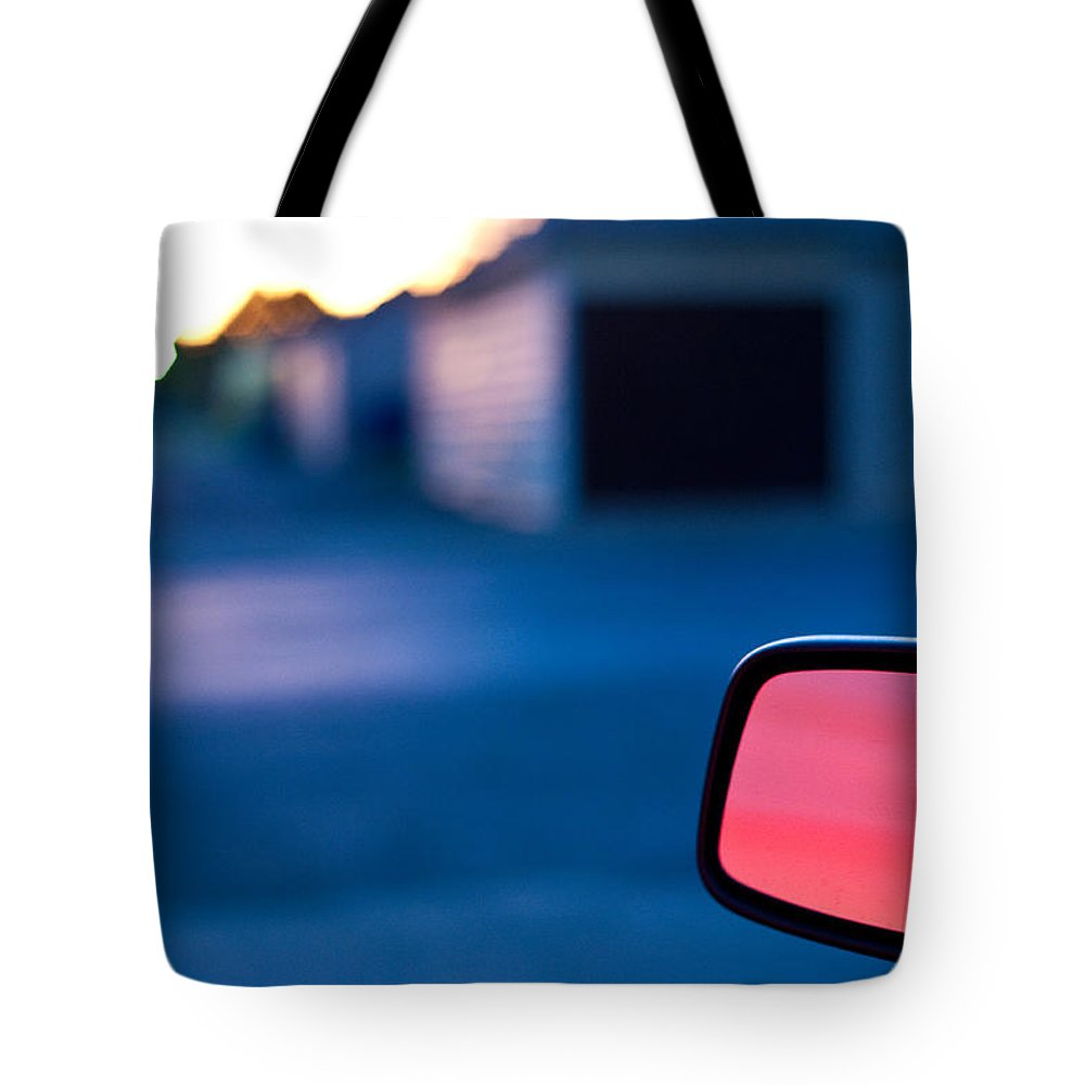 Car Mirror Tote Bag featuring the photograph Rearview Mirror by Steven Dunn