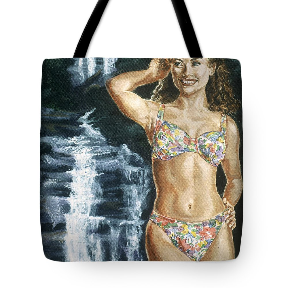 Rebecca Gayheart Tote Bag featuring the painting Rebecca Gayheart by Bryan Bustard
