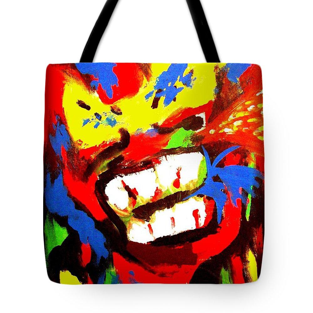 Teenager Tote Bag featuring the painting Rebel Rebel by Alan Hogan