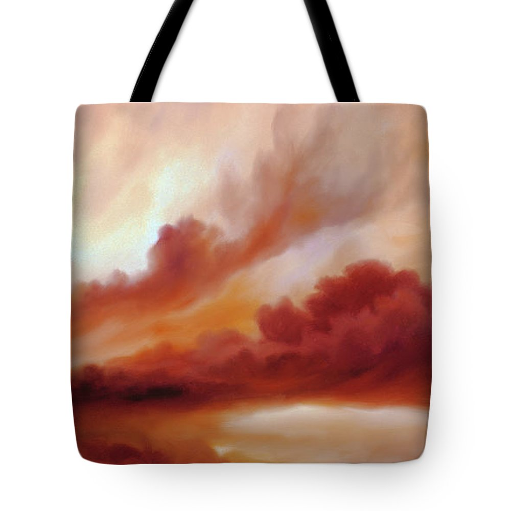 Skyscape Tote Bag featuring the painting Receding Storm Sketch IIi by James Christopher Hill