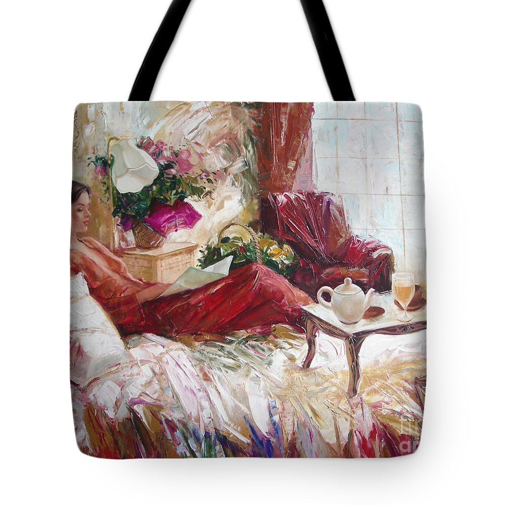 Art Tote Bag featuring the painting Recent News by Sergey Ignatenko