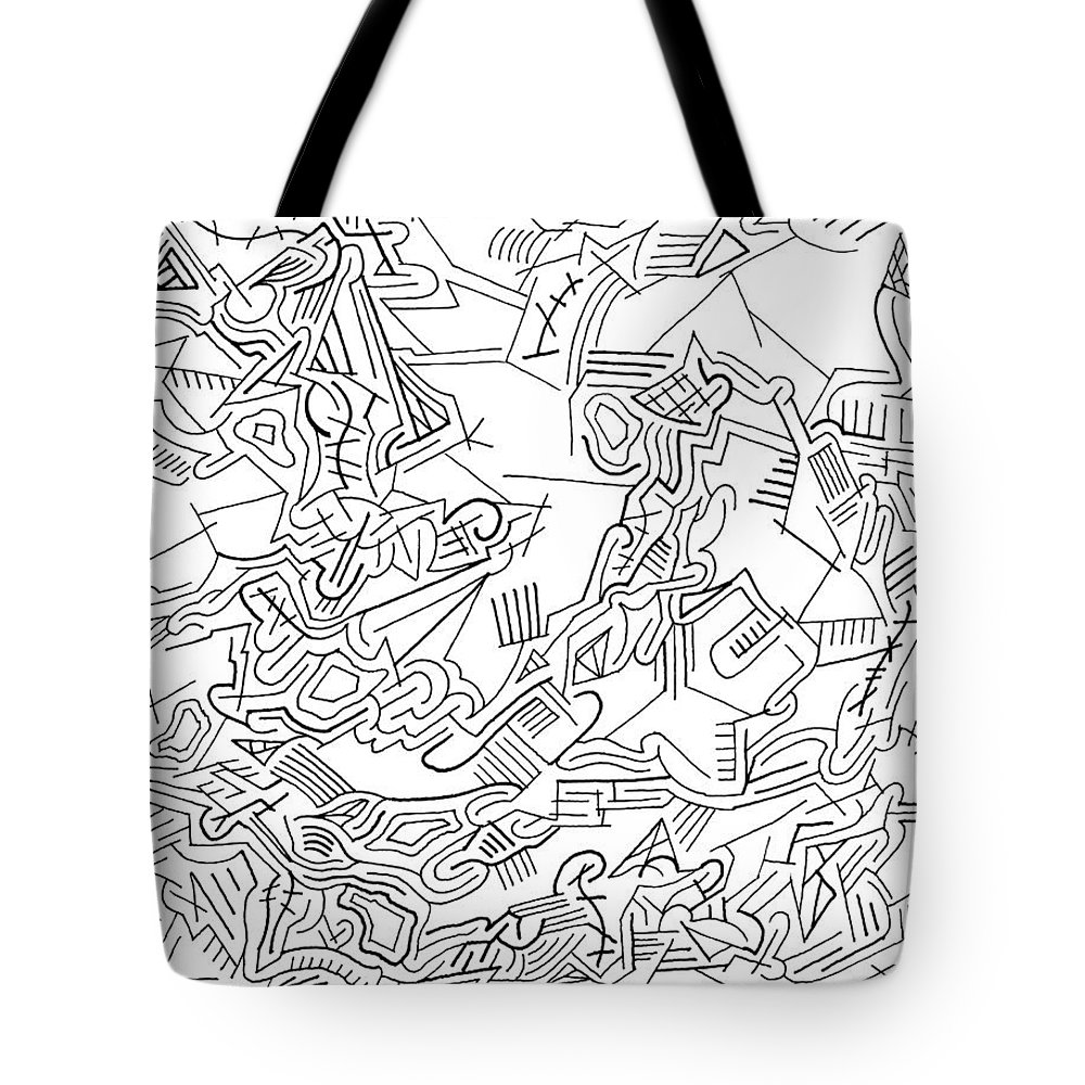 Mazes Tote Bag featuring the drawing Receptive by Steven Natanson