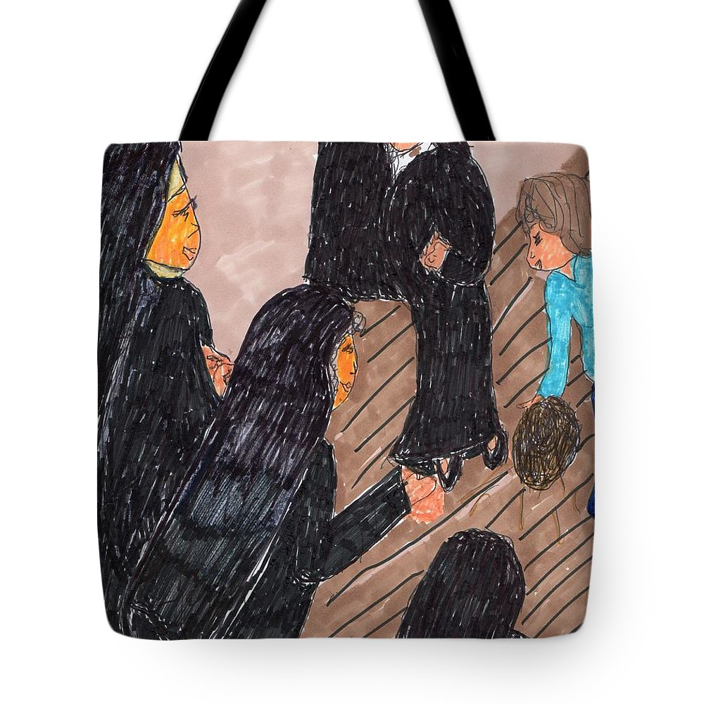 4 Sisters And A Child Playing Ball Tote Bag featuring the mixed media Recess Time With The Sisters by Elinor Helen Rakowski