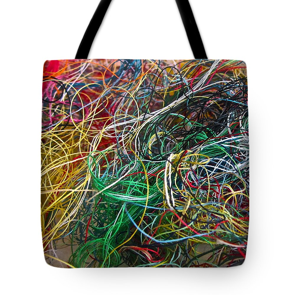 Thread Tote Bag featuring the photograph Recycled Thread by Gwyn Newcombe