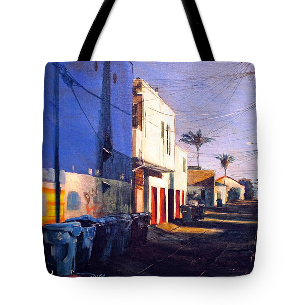 Cityscapes Tote Bag featuring the painting Recyclin by Duke Windsor