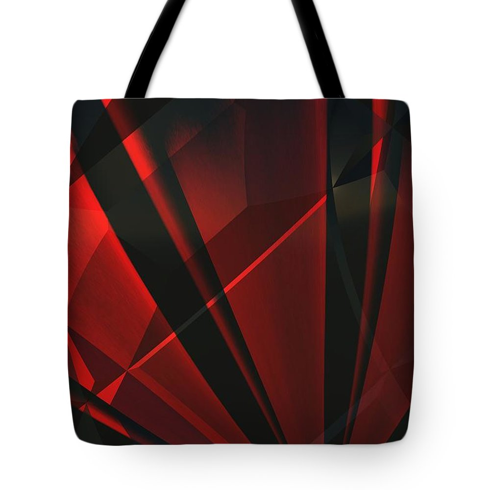 Abstractum Tote Bag featuring the digital art Red Abstractum by Max Steinwald