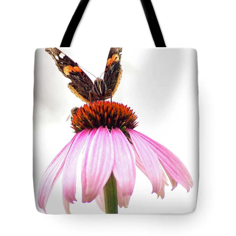 Tote Bag featuring the photograph Red Admiral On Echinacea by Kitrina Arbuckle