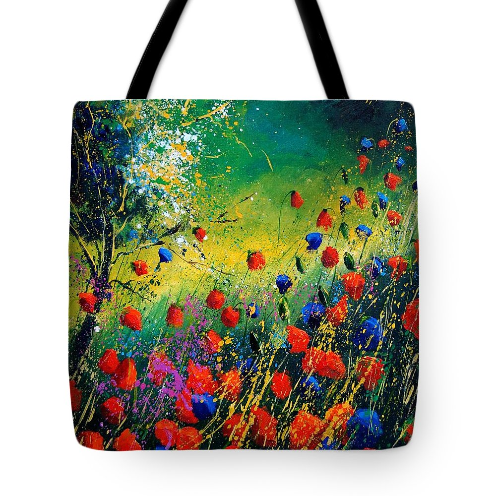 Flowers Tote Bag featuring the painting Red And Blue Poppies by Pol Ledent