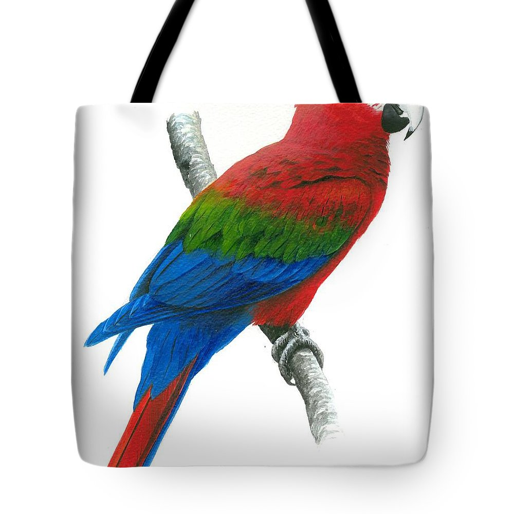Chris Cox Tote Bag featuring the painting Red And Green Macaw by Christopher Cox