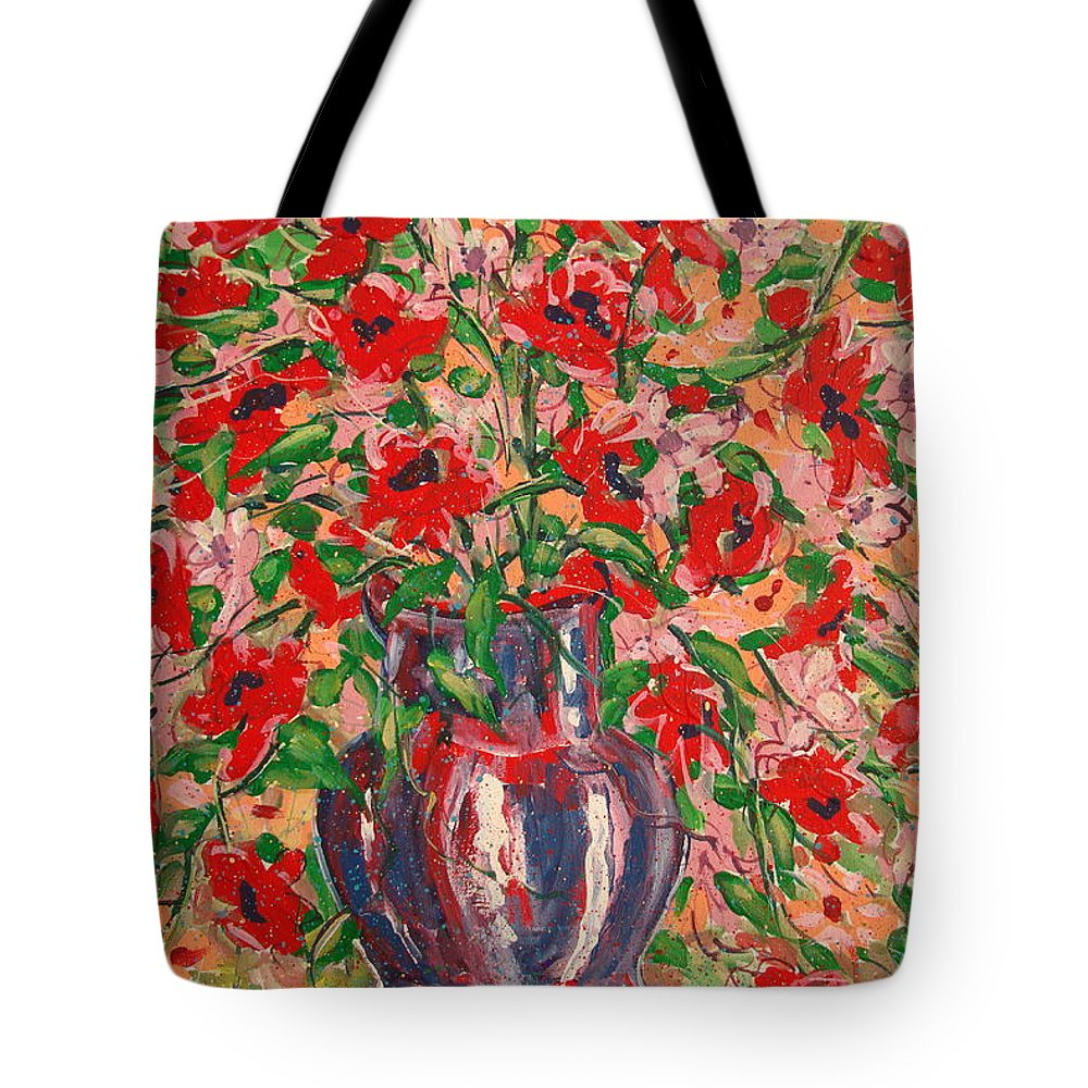 Flowers Tote Bag featuring the painting Red And Pink Poppies. by Leonard Holland