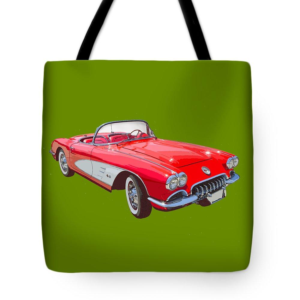 652e6b615b0d 1958 Corvette Tote Bag featuring the photograph Red And White 1958 Corvette  Fine Art Illustration by
