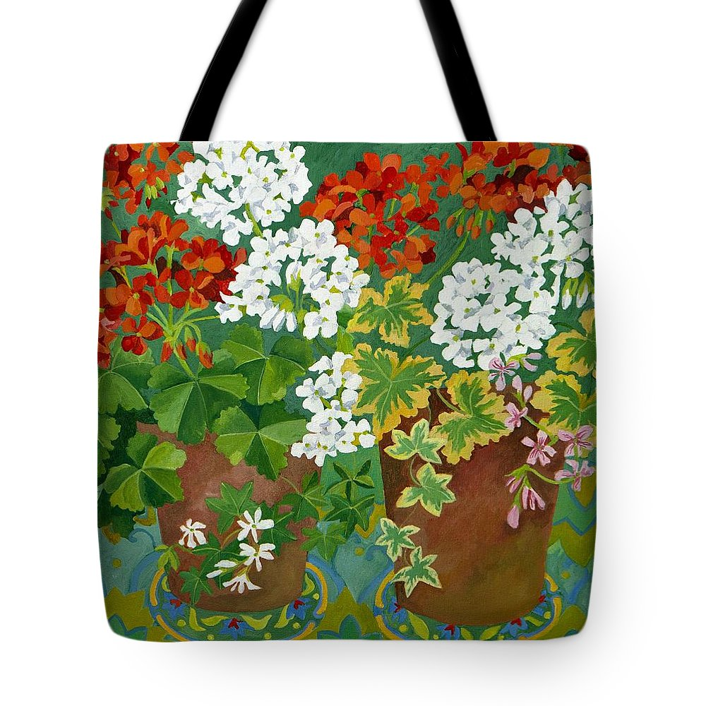 Geranium Tote Bag featuring the painting Red And White Geraniums In Pots by Jennifer Abbot
