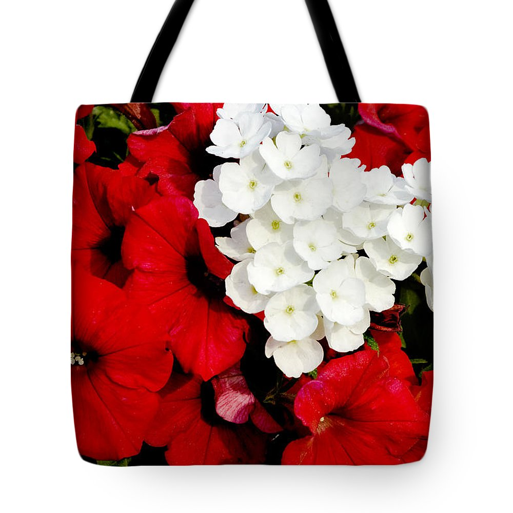 Flowers Tote Bag featuring the photograph Red And White by Greg Fortier