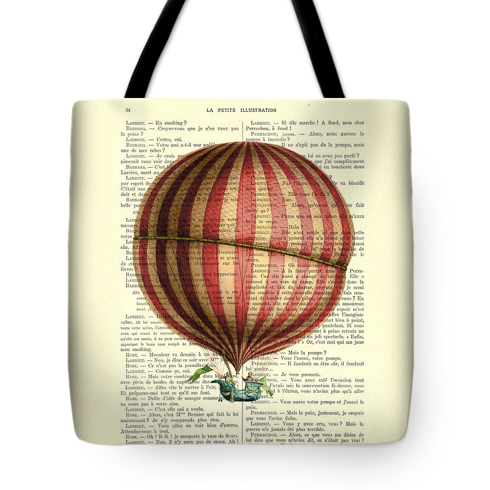 Hot Air Balloon Tote Bag featuring the digital art Red And White Striped Hot Air Balloon Antique Photo by Madame Memento